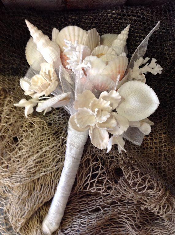 Items Similar To Wedding White Seashell Flower Bouquet Destination Flowers Custom On Etsy