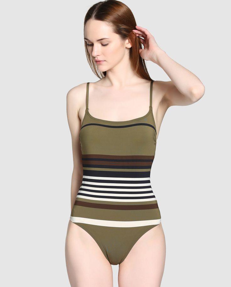'Bañador' de Mujer de escote balconette sin aro -de LOU- | Bañador con escote balconette sin aros y con tirantes finos. Estampado en rayas de tonos marrones y blancos || El Corte Inglés