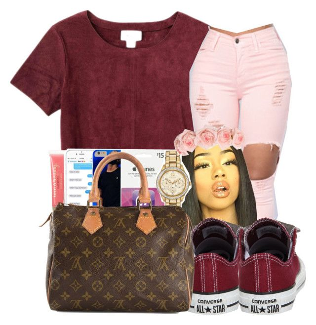 """Untitled #190"" by thatgurlcandii ❤ liked on Polyvore featuring Monki, Converse, Forever 21 and Louis Vuitton"