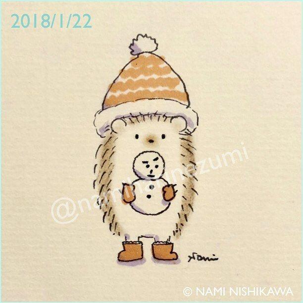 1390 #雪だるま #snowman #illustration #hedgehog #イラスト #ハリネズミ #なみはりねずみ