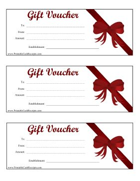 This printable gift voucher can be customized for any amount of money and features a red bow and ribbon. Free to download and print