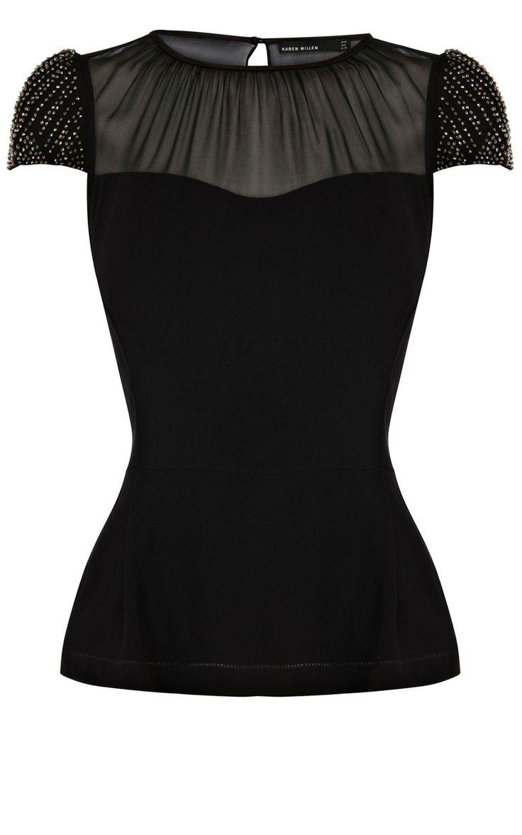 Bead sleeve top | Luxury Women's preview | Karen Millen