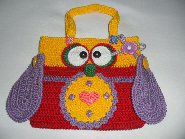 bolsa coruja multi colorida em crochê