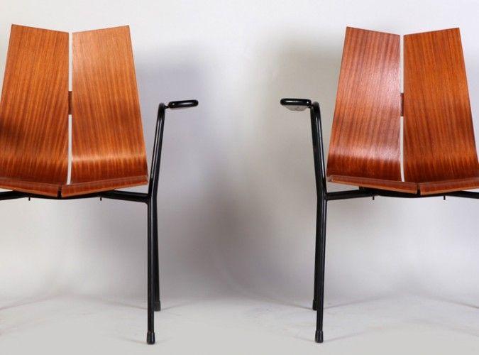 collection of design mobilier 1950 2000 vintage et contemporain paire de chaises bridge. Black Bedroom Furniture Sets. Home Design Ideas
