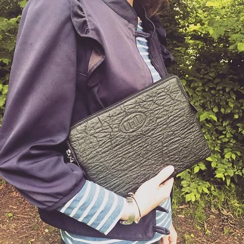 Pinatex pineapple leather ipad case in black