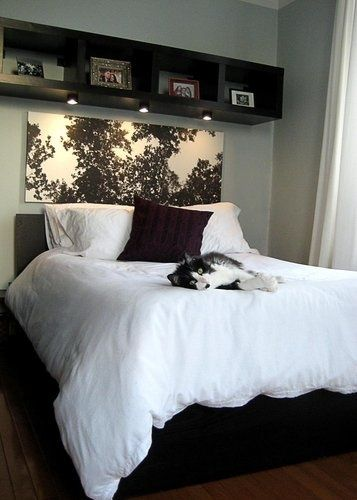 bookshelf hung horizontally above bed with attached lights...great idea! Love this!