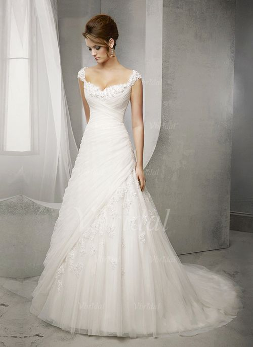 Wedding Dresses - $295.70 - Ball-Gown Sweetheart Court Train Tulle Wedding Dress With Beading Appliques Lace (0025098912)