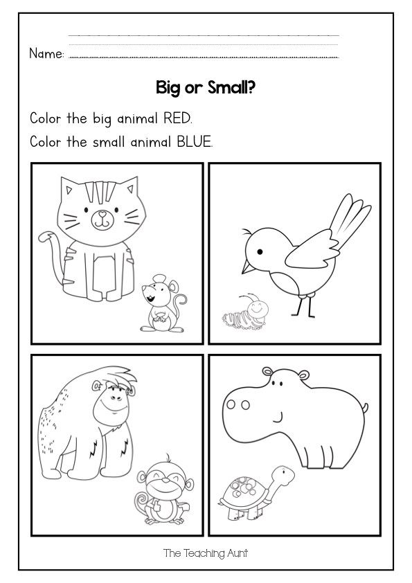 Big Or Small Worksheets Free Printable The Teaching Aunt In 2020 Preschool Activity Sheets Free Preschool Worksheets Color Worksheets For Preschool