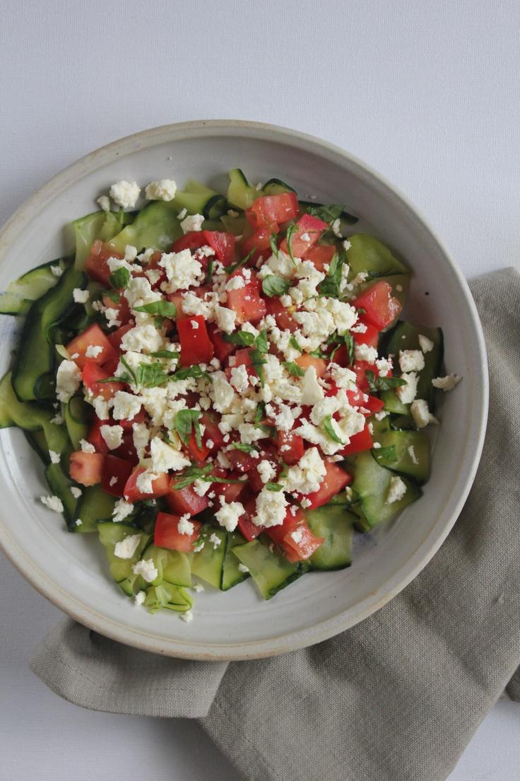 balsamic ribbon zucchini salad with tomato & fetta @ http://simplehayat.wordpress.com/