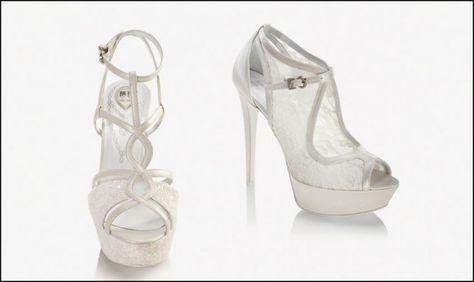 Scarpe alte ricamate Carlo Pignatelli 2016 - Calzature bianche per la sposa chic.