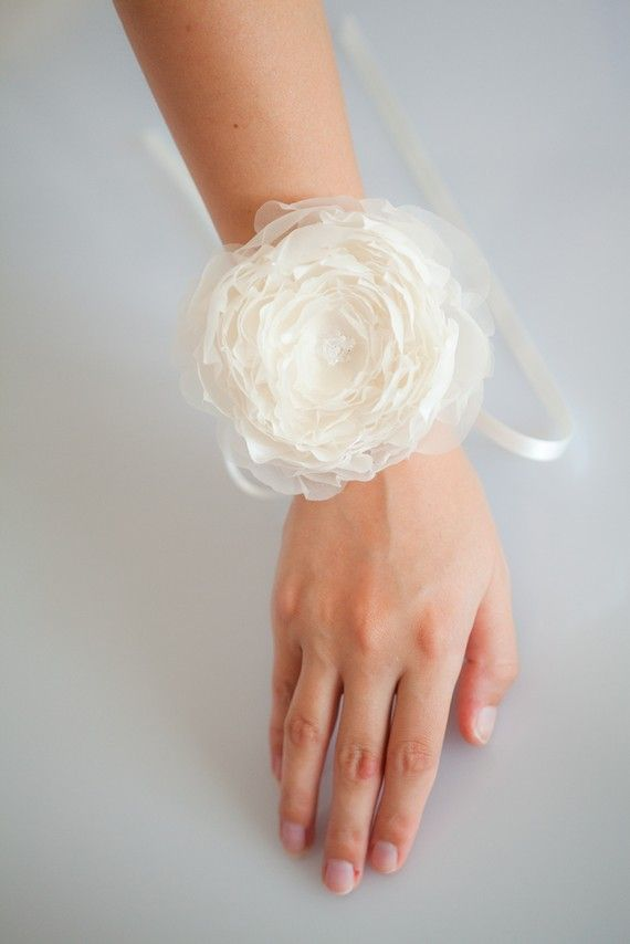 Dreamy Morning Bridal Wrist Corsage Made to Order by sibodesigns, $60.00