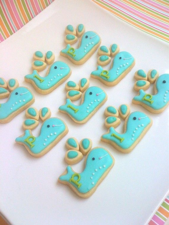 Bless this creative woman!  LOVE THESE! Preppy Whale Cookie Favors 2 dozen Whale Cookies by SunshineBakes, $36.00