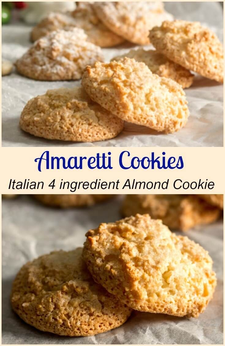 Amaretti Cookies,a sweet Italian Almond Cookie crispy on the outside and chewy on the inside cookie recipe.Fast & easy,gluten and dairy free. via @https://it.pinterest.com/Italianinkitchn/