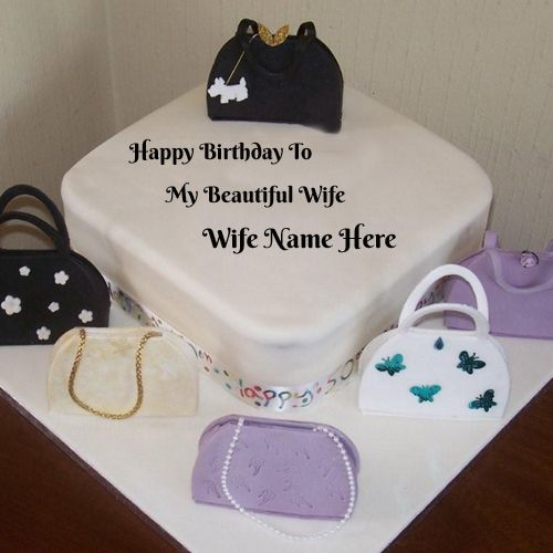 Write Name On Bags Birthday Cake For Wife Online