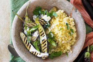 Eggplant and couscous salad with yoghurt dressing
