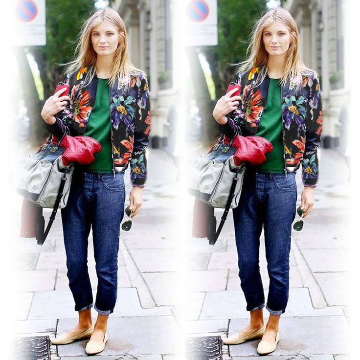 Womens Fashion Long Sleeve Zip Up Floral Print Retro Bomber Biker Jacket Coat