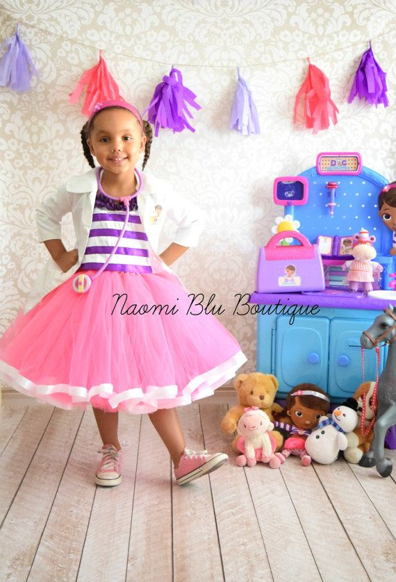 Disney Junior Jr Inspired Doc Mc Stuffins Ribbon Trim Tutu Dress Costume. Halloween, Birthday, Disneyland No Lab Coat