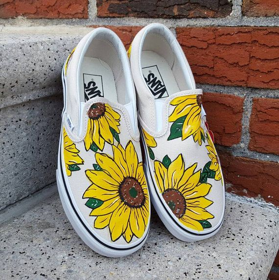 These are Vans Slip On shoes featuring hand-painted Sunflowers! Done  free-hand without the use of stencils. This design looks best on natural or  pastel ... 1d401f6ba