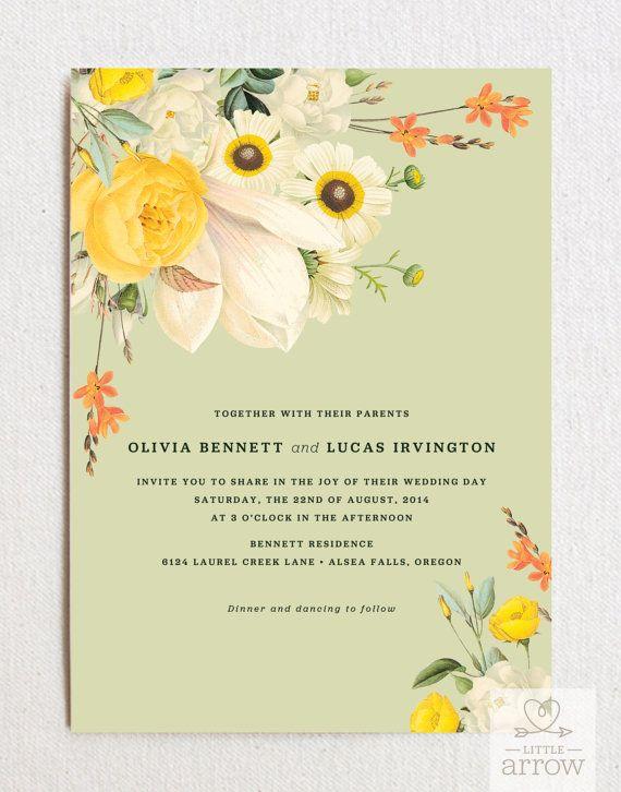 Botanist Study II Wedding Invitation (with envelopes) #wedding #invitations #bouquet #floral