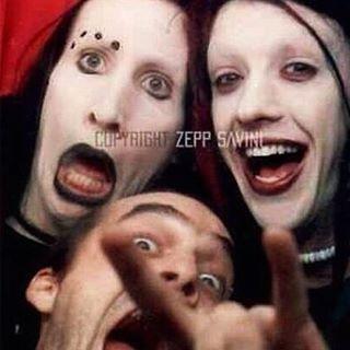 "One of my favorite oldschool photos of them. Manson, Twiggy & Zepp circa ""Smells Like Children"" Era. Photo by Zepp Savini. | MUA.AshleyRenea | Marilyn Manson | Twiggy Ramierz | Brian Warner | Jeordie White"