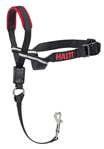 The Company of Animals - HALTI Opti Fit Head Collar - Adjustable and Padded Gentle Leader - No Pull, No Pain - Includes Training DVD and Guide - Medium - The HALTI OptiFit is a complete training program designed by Dr. Roger Mugford which guarantees to stop your dog pulling. The pack includes a HALTI OptiFit Headcollar, a comprehensive Training DVD, Instruction Guide and a HALTI safety link which connects to the dogs' collar for extra security. Sp...