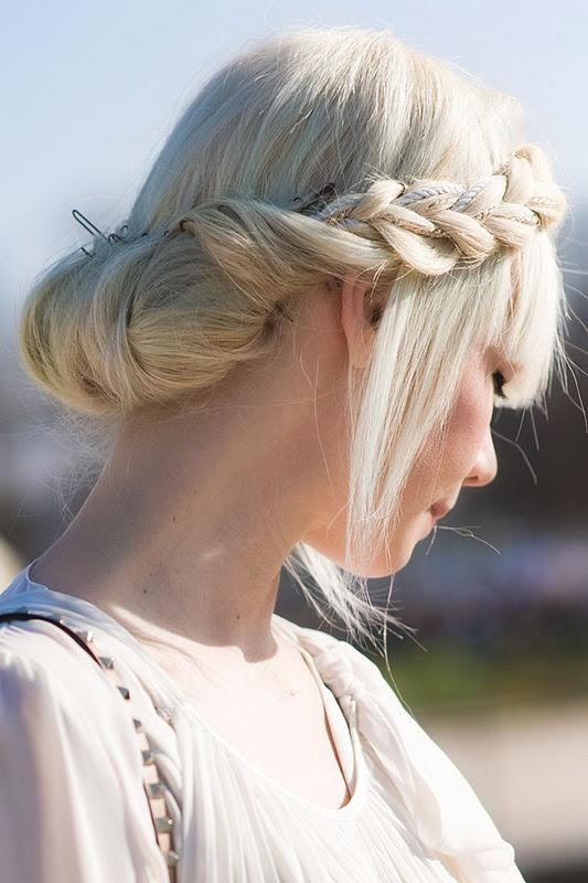 Gorgeous hair!  Erin Featherston, as seen on Vanessa Jackman's Blog from July 27, 2011.Hair Ideas, Braids Hairstyles, Fashion Weeks, Wedding Hair, Blond, Hair Style, Side Braids, Braids Buns, Bobby Pin