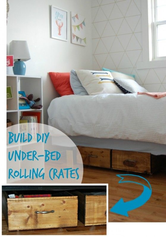 Build your own rolling under bed storage crates small for Make your own storage bed