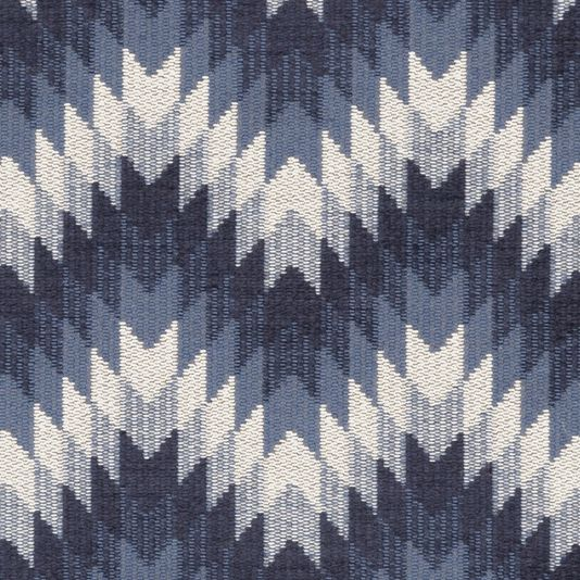 Logan Fabric A distinctive fabric with a chevron design woven in shades of indigo and beige. Sections of the design have been finished in a chenille fabric for added softness.
