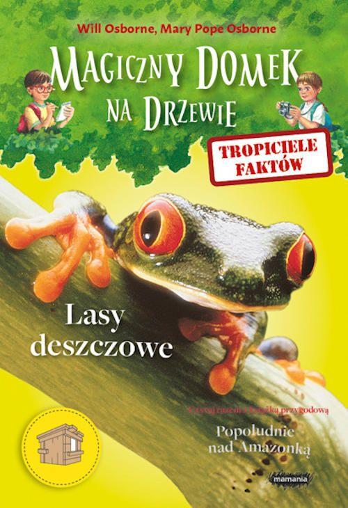 """""""Lasy deszczowe"""" to kolejny tom serii """"Tropiciele Faktów"""" autorstwa Willa Osborne'a i Mary Pope Osborne. Stanowi on rozszerzenie informacji zawartych w książce opisującej przygody Ani i Jacka w dorzeczu Amazonki. Autorzy edukują w niej na temat fauny i flory Ameryki Południowej w tym regionie.    http://moznaprzeczytac.pl/tropiciele-faktow-lasy-deszczowe-will-osborne-mary-pope-osborne/"""