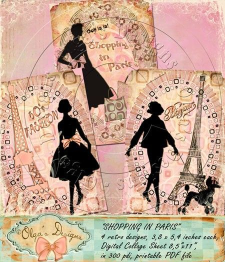 SHOPPING in PARIS, 4 designs 3,8 x 5,4 inches, Digital Collage Sheet, in 300 pdi, printable PDF file