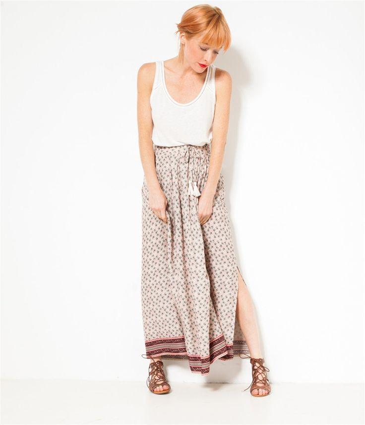 Longue jupe imprimée femme Rose the T36 - Jupe Femmes Camaieu