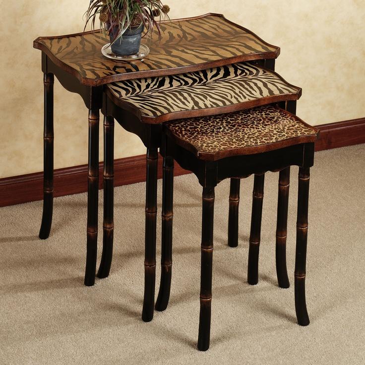 Jawara Animal Print Nesting Table Set Black Set Of Three