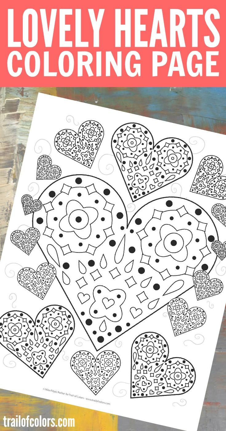 This lovely free printable hearts coloring page is suitable for both grown ups and kids. Well maybe older kids because it is a little more intricate.