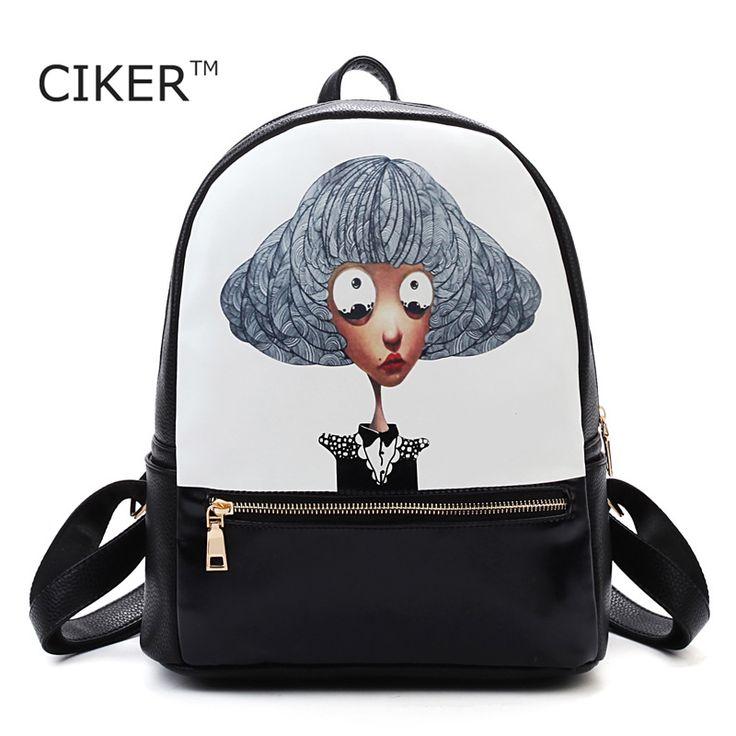 CIKER Brand High quality leather backpack women printing backpacks for teenage girls fashion travel bag cute school bags mochila