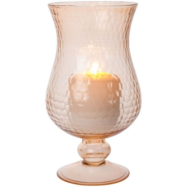 Large Glass Hurricane Candle Holder (5-Inch, Vintage Pink) ($44) ❤ liked on Polyvore featuring home, home decor, candles & candleholders, glass tealight, flower candle holder, glass pillar candles, glass candle holders and pink candle holders