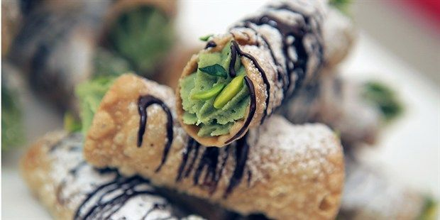 Cannoli with Pistachio Cremeux  recipe by Chef Matt Moran.    Recipe from The Great Australian Bake Off.