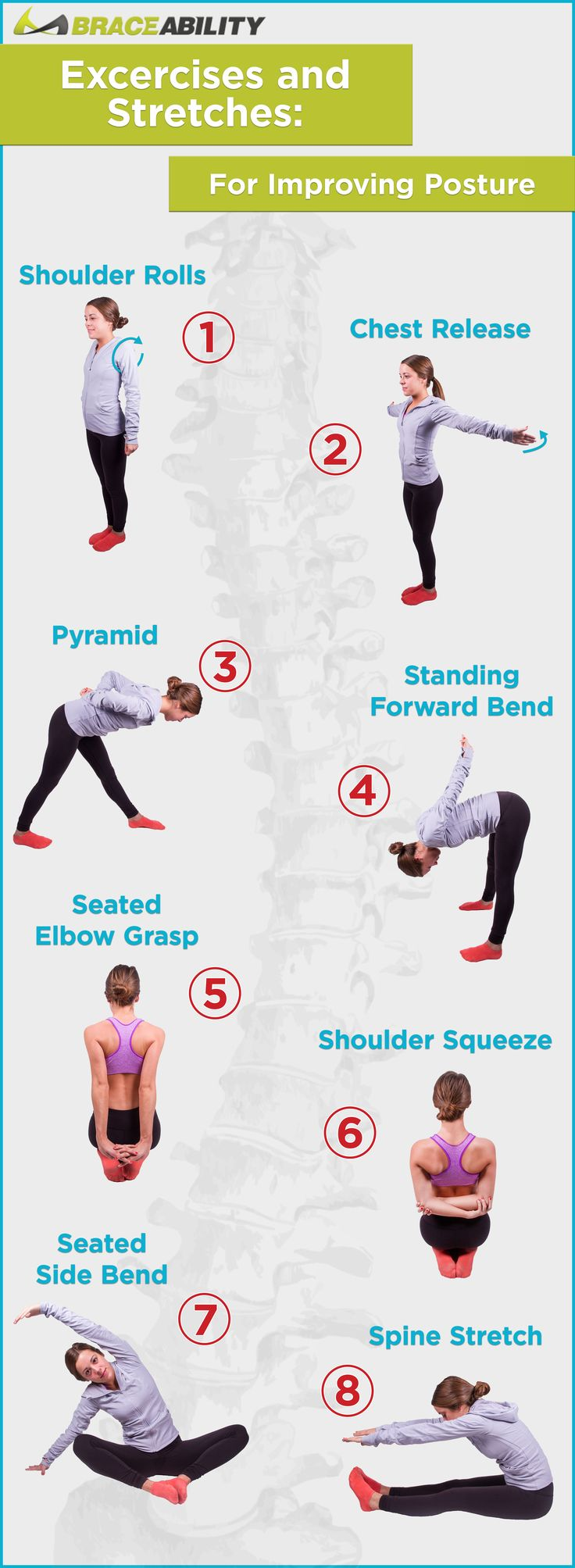 Stretching is an important factor in correcting & improving your posture. Here are 8 easy stretches to help give you good posture & strengthen your muscles!   BraceAbility