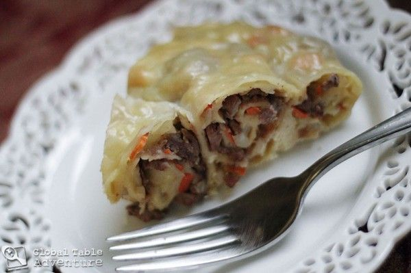 Sasha's Kyrgyz stuffed and rolled pasta (sweet potato and spinach filling? with feta?)