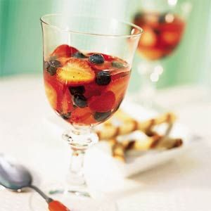 Berry-Muscat Wine Goblets (blueberries, strawberries, muscato, and white grape juice, sugar, and gelatin)