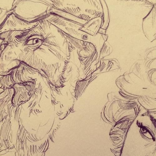 More one study sketch of day. #study #sketch #aviator #old #smile #illustration