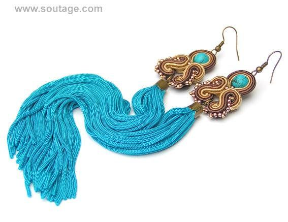 Turquoise-Brass Dragon - very long, light, thin soutache earrings with blue sand stones. Earrings with their silky tassel can be wear for all occasions: wedding, evening party, date, everyday(workday) Using materials: glass beads, soutache, viscose, turquoise stones. Length of earring: