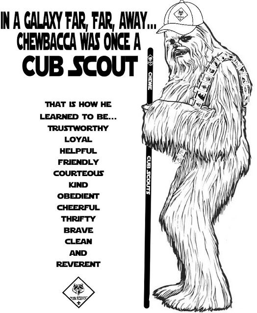 Chewbacca Was Once a Cub Scout in a Galaxy Far, Far, Away ~ Star Wars ~ Blue & Gold Banquet ~ Free Coloring Page