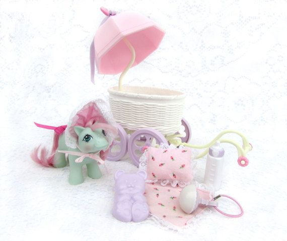 Vintage My Little Pony Baby Cuddles with Buggy and Accessories
