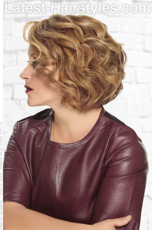 Short Curly Bob Hairstyle with Layers Side View