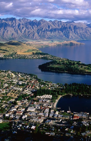 Overhead of Queenstown, Remarkables in background, seen from Skyline Gondola. Rode the gondola to the top of the mountain