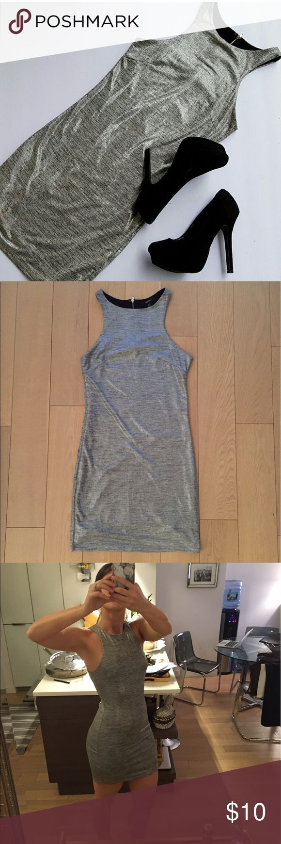 Silver bodycon mini dress Super cute silver racerback bodycon dress. Super soft and comfortable! Never worn! Forever 21 Dresses Mini