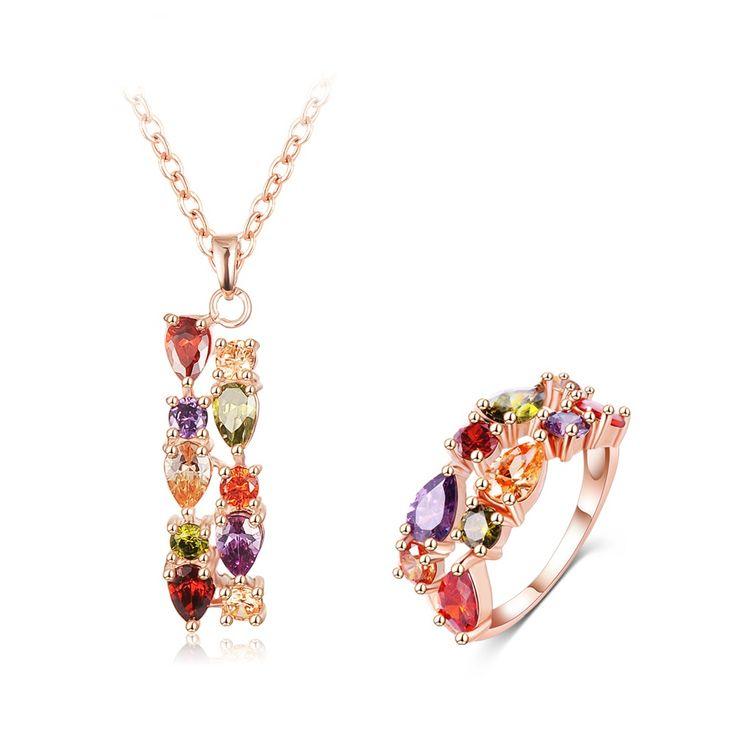 Купить Роуз Позолоченные Ювелирные Наборы Партии Свадебные Себе Ожерелье Мода…