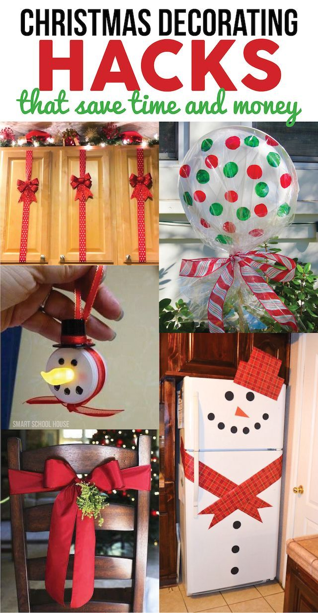 Christmas Decorating Hacks that save time and money. Easy DIY and craft ideas with pictures and supplies included!: