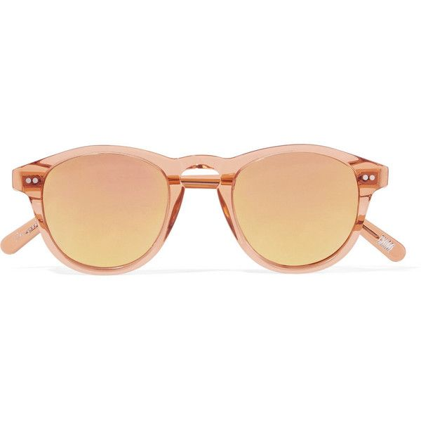 CHIMI Round-frame acetate mirrored sunglasses (1.344.800 IDR) ❤ liked on Polyvore featuring accessories, eyewear, sunglasses, peach, mirrored lens sunglasses, mirrored sunglasses, uv protection glasses, round acetate sunglasses and rounded sunglasses