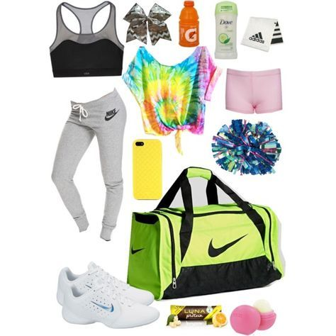What to keep in your cheer bag by taylorjanse on Polyvore featuring polyvore, fashion, style, Victoria's Secret, NIKE, Gucci, Eos and adidas